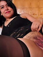 Unshaved Latin housewife playing with her pussy